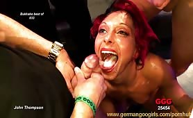 German chicks getting gangbanged and cummed all over